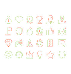 gamification icons business achievements line vector image