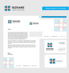 Giftbox business letterhead envelope and visiting vector
