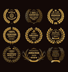 golden laurel wreaths templates vector image
