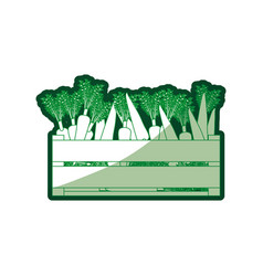 Green silhouette of wooden box with carrots with vector