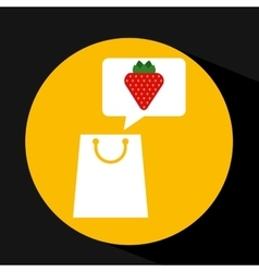 Grocery shopping bag strawberry fruit design vector