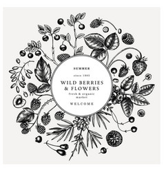 Hand drawn berries frame engraved style wild vector