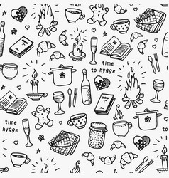 hand drawn seamless pattern time to hygge vector image