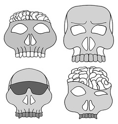 Hand Drawn Skull Mask Set vector
