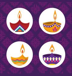 happy diwali festival collection diya lamps vector image