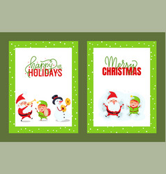 happy holidays and merry christmas cards with vector image