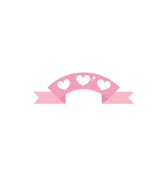 Happy valentines day ribbon hearts love ornament vector