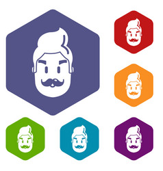 hipster man face icons hexahedron vector image