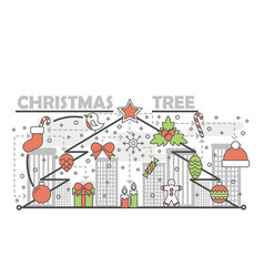 holiday christmas tree concept line banner vector image