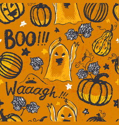 ink hand drawn halloween seamless pattern vector image