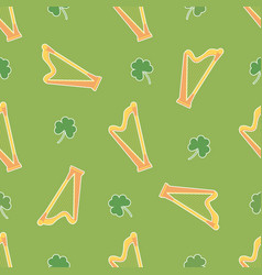 Irish shamrock clovers harp pattern vector