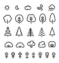 isolated black color outlined coniferous trees vector image