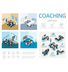 isometric coaching infographic concept vector image