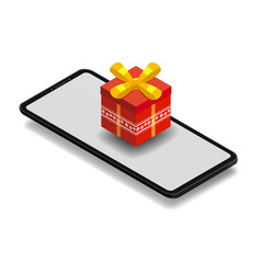 isometric smartphone with red gift box online vector image