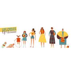 Life cycles woman set vector