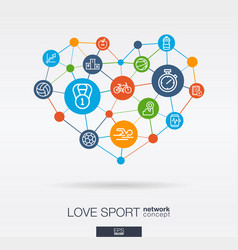 love sport integrated thin line icons in heart vector image