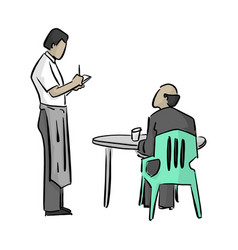 male waiter writing a note with vector image