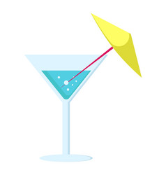 Margarita cocktail in glass long leg with umbrella vector