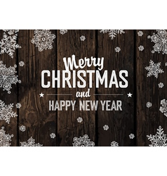 merry christmas greeting on aged hardwood planks vector image vector image