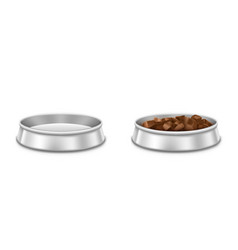 metal pet bowls with food for dog or cat vector image