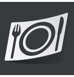 Monochrome dinner sticker vector image