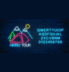 neon hiking tour sign glowing web banner for vector image
