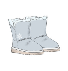new years warm gray ugg boots with fur winter vector image