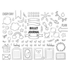 notebook doodle bullet hand drawn diary frame vector image