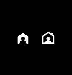 Person home flat cartoon style logo concept vector