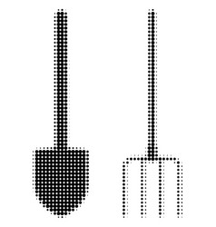 pitchfork and shovel tools halftone icon vector image