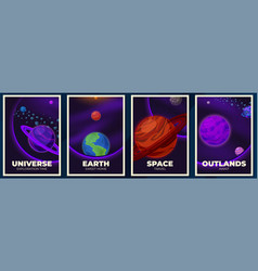 planets banners space poster magazine cover with vector image