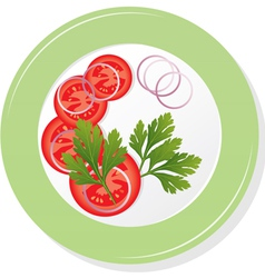 plate with sliced tomatoes vector image