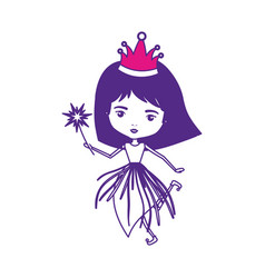 Princess fairy with crown and magic wand on color vector