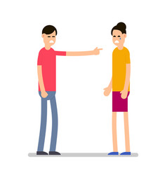 quarrel pair of young people in a quarrel a man vector image
