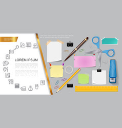 realistic stationery composition vector image