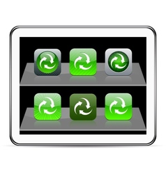 Recycle green app icons vector