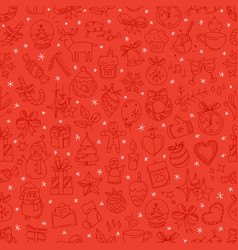 red seamless background with winter elements vector image