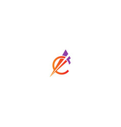 round arrow sign initial business logo vector image