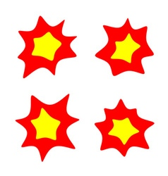 Rounded burst stars set Flash blast bright symbols vector