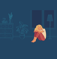 Sad woman suffering from loneliness and negative vector