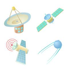 Sattelite icon set cartoon style vector