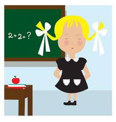 schoolgirl near the blackboard don t know the vector image