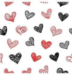 Seamless Pattern With Doodle Valentine Hearts vector