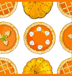 Seamless pattern with pumpkin pies and pumpkins vector
