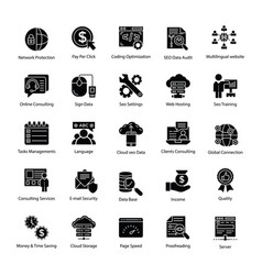 search engine and optimization master icons vector image