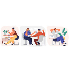 set cartoon smiling people listening and vector image