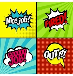 Set comic work sound effects pop art style vector