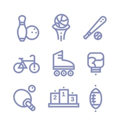 Set Fitness sports gym icons vector image
