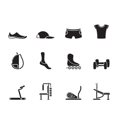 Silhouette sports equipment and objects icons vector