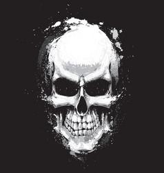 Skull artistic splatter black n white vector